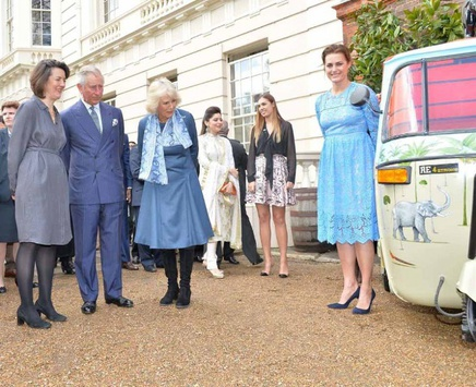 Rebecca Campbell (left) with Elephant Family's Presidents Their Royal Highnesses The Prince of Wales and The Duchess of Cornwall at Clarence House for the launch of Travels to my Elephant