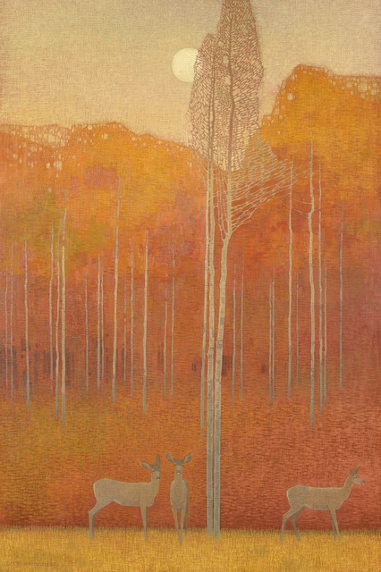 In the Autumn Evening, oil on linen over panel, 152.4 x 101.6cm, by David Grossmann