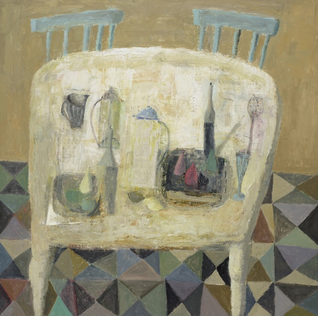 White Table with Chairs, oil on linen, 39.3 x 39.3ins (100 x 100cm), by Nicholas Turner