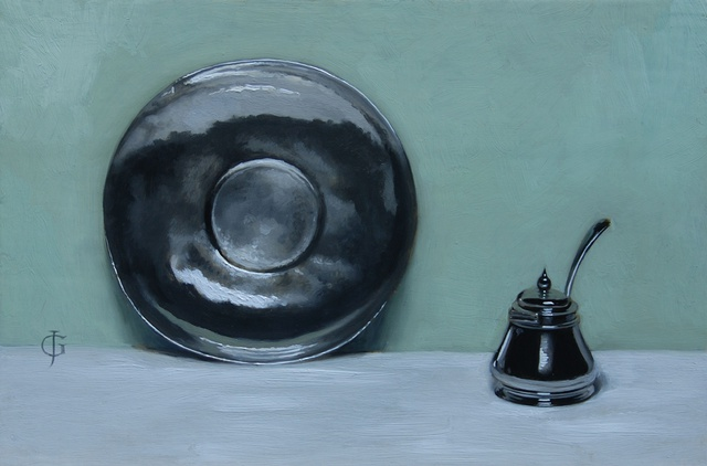 Silver Plate and Mustard Pot, oil on wood braced with brass, 20.4 x 30.6 cm, by James Gillick