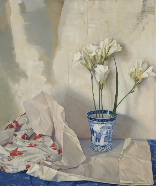 Freesias, Poppy Dress and the Adams Cup, oil on linen, 22 x 18.5ins, by Susan Angharad Williams