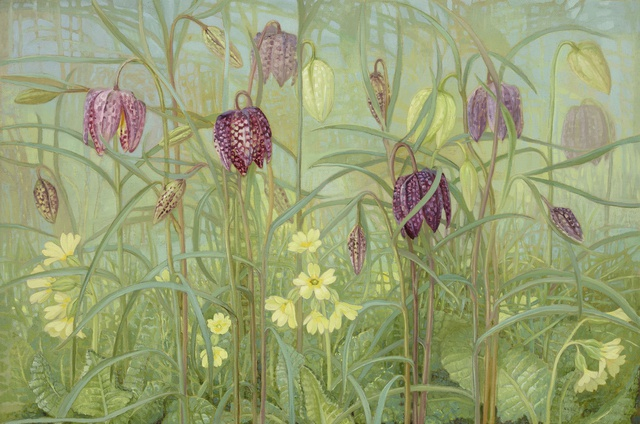 Fritillaries and Primulas, oil on linen, 12 x 18ins (30.5 x 45.7cm), by Jane Wormell